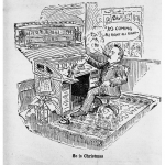 An editorial cartoon of Bob Edwards sitting at his desk.