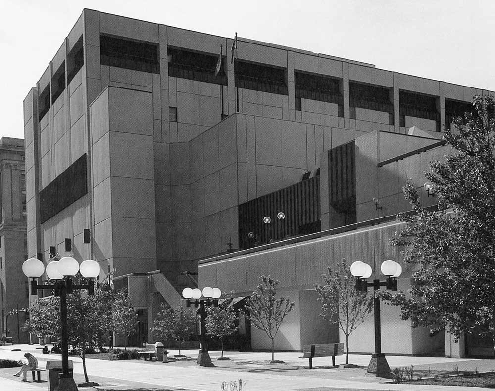 A black-and-white photograph of an exterior view of the Glenbow Museum.