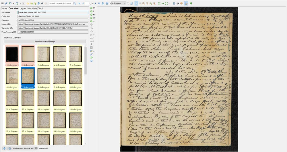 Artificial intelligence and machine learning are helping to transcribe this page from a diary dated May 1st, 1897.