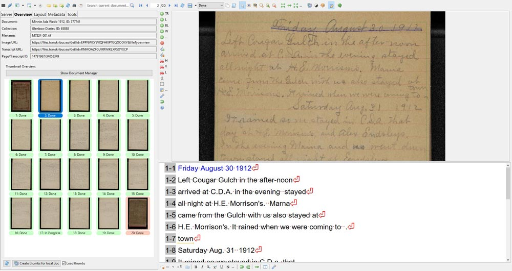 Artificial intelligence and machine learning are helping to transcribe this page from a diary dated August 30, 1912.