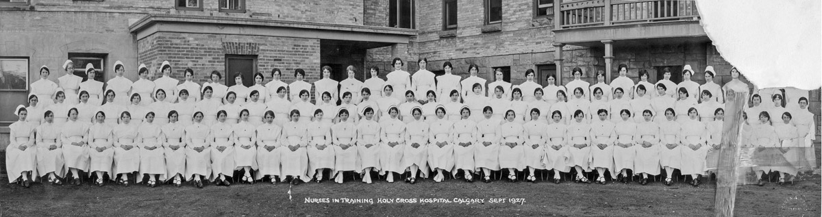 A panorama photo of nurses in training as seen in one of the panoramic photos of the Glenbow Archives.