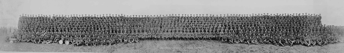 A group of about 400 soldiers posing for a panoramic photograph during the First World War as seen in one of the panoramic photos of the Glenbow Archives.